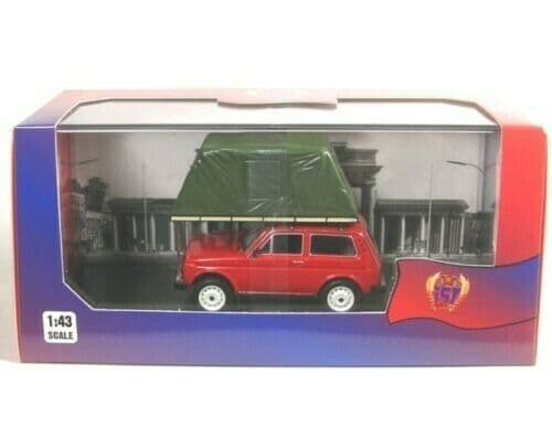 IXO IST295MR 1/43 Scale LADA NIVA 1981 With Roof Tent Camper Red MIMB