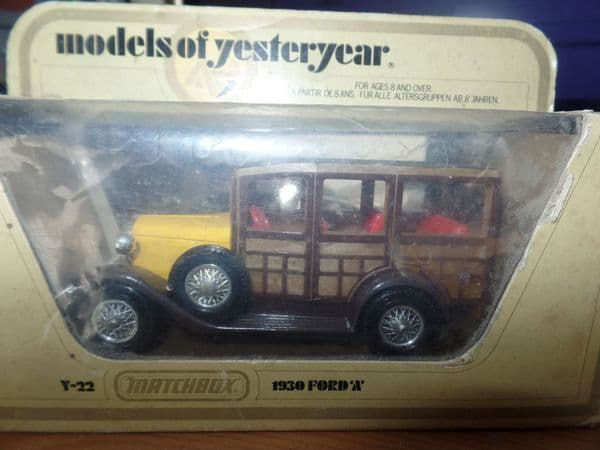Matchbox Models of Yesteryear Y22 Y-22 1930 Ford Model A Station Wagon Shooting Brake Yellow