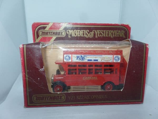 MATCHBOX YESTERYEAR Y23 1922 AEC S TYPE  BUS London General Hither Green RAC Ads MIB