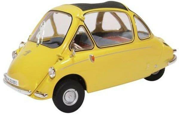 Oxford 18HE003 HE003 1/18 Scale Heinkel Kabine Bubble Car Yellow Worn Box