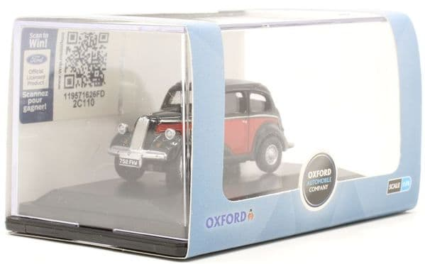 Oxford 76FP006 FP006 1/76 OO scale Ford Popular 103E Red & Black