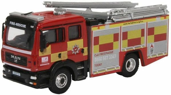 Oxford 76MFE005 MFE005 1/76 OO Scale MAN Fire Engine Pump Ladder Hertfordshire