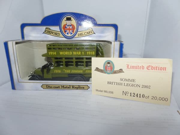 Oxford 76MIL006 MIL006 1/76 OO Scale London AEC X Type Old Bill Bus Army Somme 1914