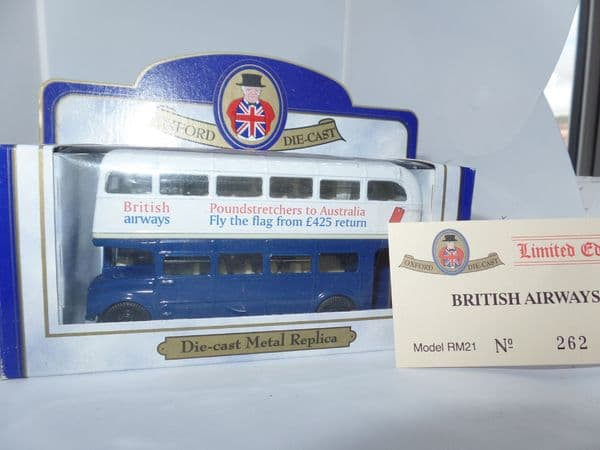 Oxford 76RM021 RM21 1/76 OO Scale London Routemaster Bus  British Airways  Poundstretchers