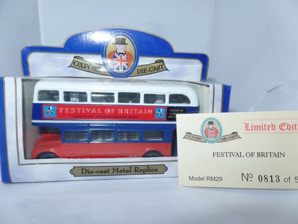 Oxford 76RM029 RM29 1/76 OO Scale London Routemaster Bus  Festival of Britain Battersea