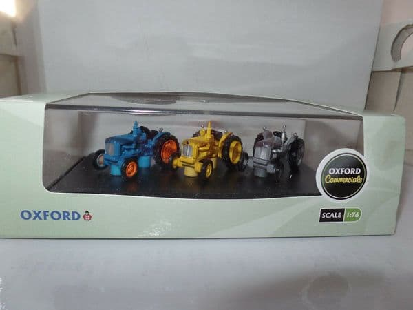 Oxford 76SET10A SET 10 10A 1/76 OO Gift Set of 3 Ford Tractors Blue Yellow Grey