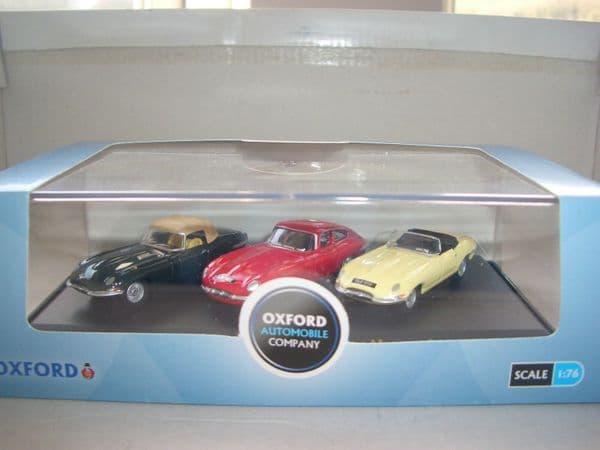 Oxford 76SET13 SET13  1/76 OO Scale 3 x E Type Jaguar Triple Set