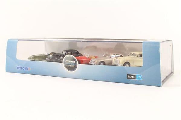 Oxford 76SET14  SET 14 1/76 OO Jaguar Set 5  E Type Green XK120 Red SS Black  Mk2 Gold  Mk7 White