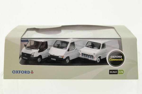 Oxford 76SET37 SET37  3 x Ford Transit Van  50th Mk1 MKII MKII  White POOR BOX