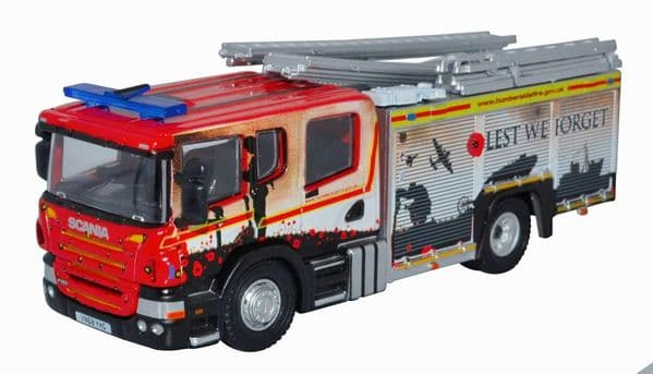 Oxford 76SFE011 SFE011 1/76 OO Scale Scania CP28 Humberside Fire  Lest We Forget Poppy