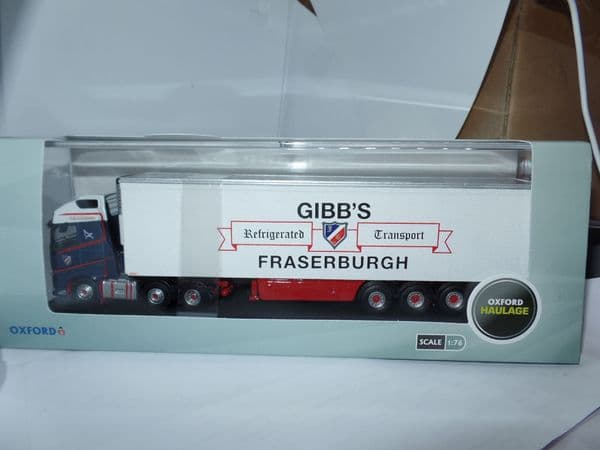 Oxford 76VOL4011 VOL4011 1/76 OO Volvo FH4 GXL Fridge Trailer Gibbs of Fraserburgh