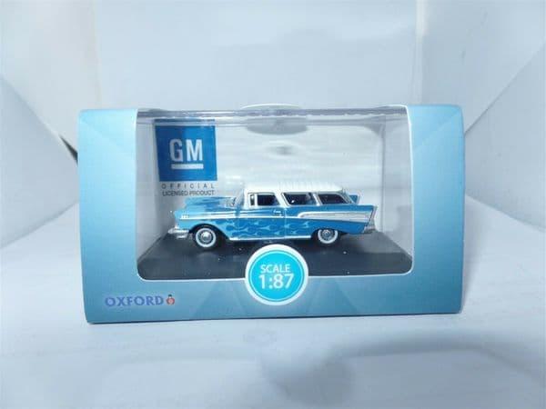 Oxford 87CN57005 CN57005 1/87 HO Scale Chevrolet Nomad 1957 Hot Rod Blue Flames