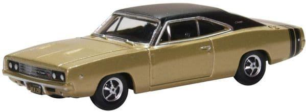 Oxford 87DC68002 DC68002 1/87 HO Scale Dodge Charger 1968 Gold Black Stripes