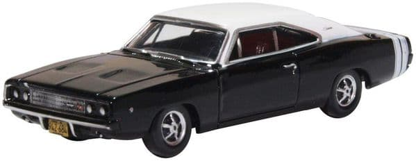 Oxford 87DC68003 DC68003 1/87 HO Scale Dodge Charger 1968 Black & White