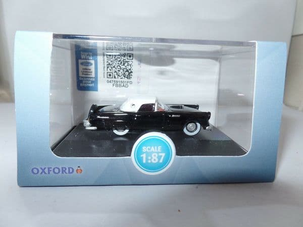 Oxford 87TH56006 TH56006 1/87 HO SCale 1956 Ford Thunderbird Raven Black Colonial White
