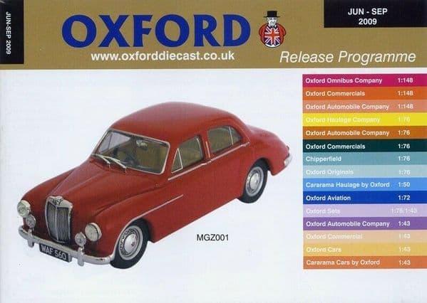 Oxford Diecast Catalogue 2009 June 2009 - September 2009 MGZ