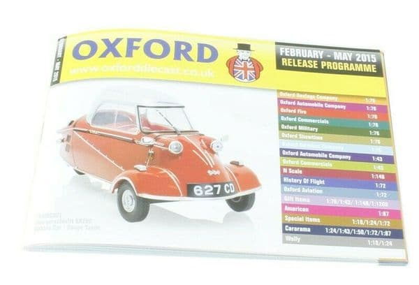 Oxford Diecast Catalogue 2015  February 2015 - May 2015 Bubble