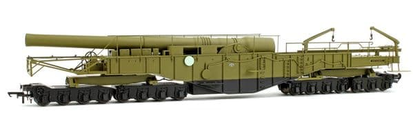 Oxford Rail 76BOOM02 BOOM02 WWII 2   13.5 inch Howitzer Railgun  Green HMG Gladiator