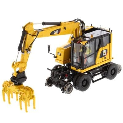 Diecast Masters 1:50 Cat® M323F Railroad Wheeled Excavator - Safety Yellow Version