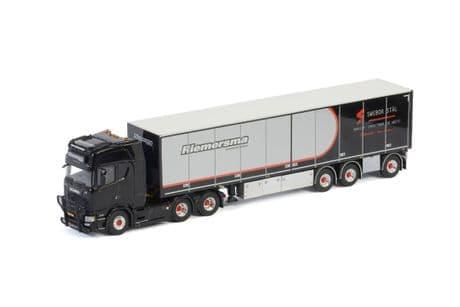 WSI Riemersma ScaniaS Highline CS20H 6X2 Tag Axle Steel Carrier Box Trailer