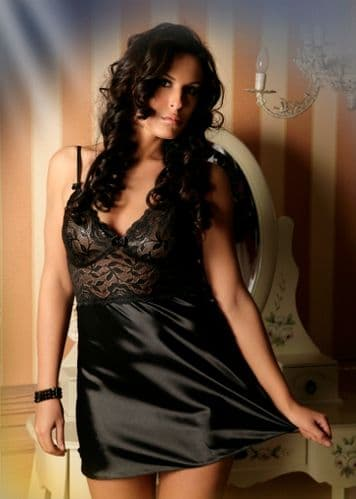 1611 Sexy Satin and Lace Chemise Black  10-24, S-6XL