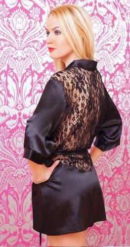 Black Satin Kimono, robe with lace back  8 - 24