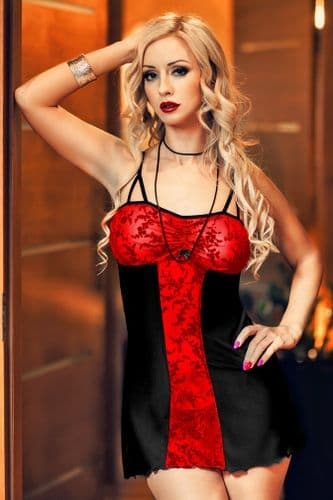 Bridget'  Black and Red Lace Panel Babydoll