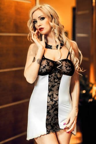 Bridget' Black and White Lace Panel Babydoll