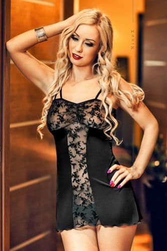 Bridget' Black Lace Panel Babydoll