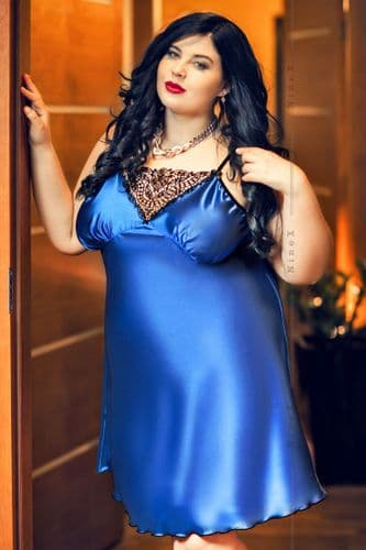 Isla'  Blue Satin and Lace Babydoll r