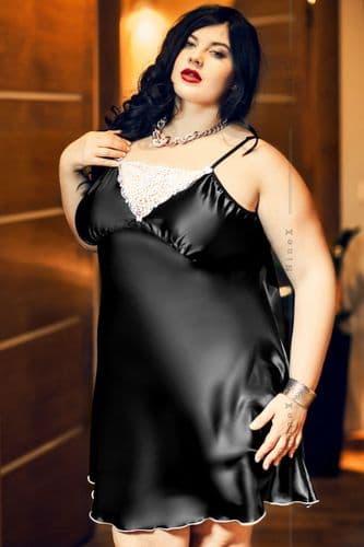 Isla' Elegant Black Satin and Lace Babydoll