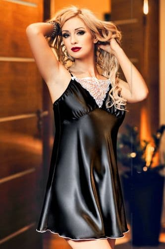 Isla' Elegant Black Satin and Lace Babydoll r