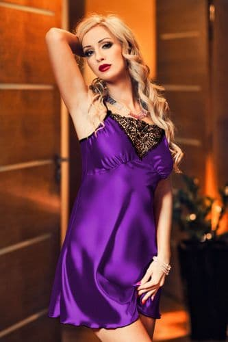 Isla' Elegant Purple Satin and Lace Babydoll