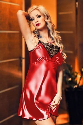 Isla' Elegant Red Satin and Lace Babydoll r
