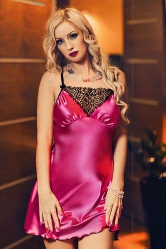 Isla' Hot Pink Satin and Lace Babydoll r