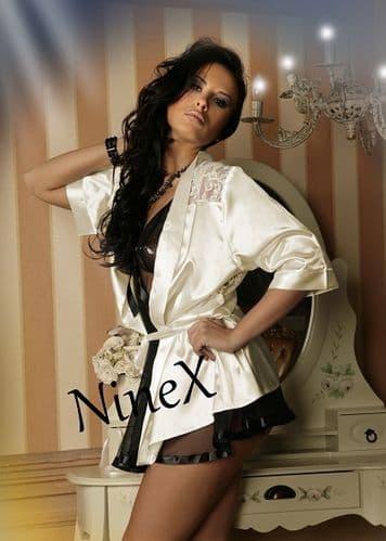 Ivory Satin Kimono, robe with lace back  8 - 24