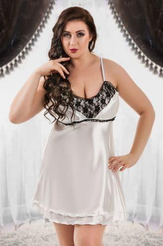 Lila' Beautiful satin babydoll White