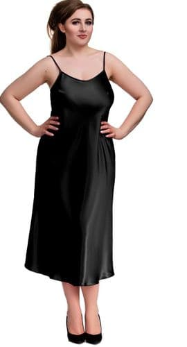Long Black Satin Chemise