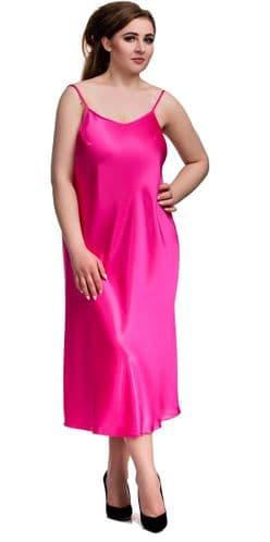 Long Pink Satin Chemise