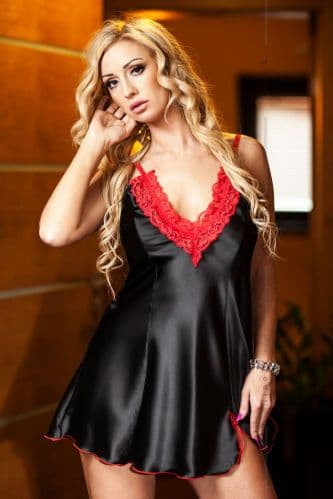 Maidie' Hot  Satin and Lace Babydoll Black