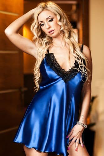 Maidie' Hot  Satin and Lace Babydoll Blue