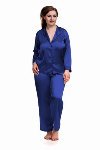 Satin Long Sleeve Pyjamas Blue
