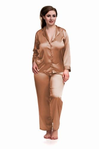 Satin Long Sleeve Pyjamas Brown
