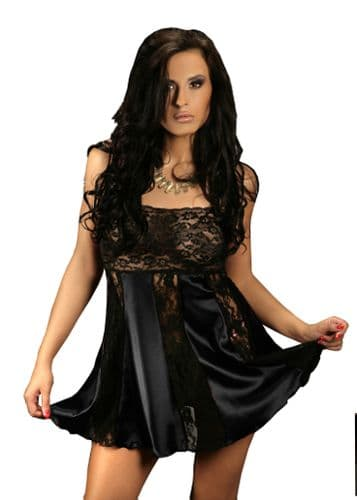 Sexy Satin and Lace Babydoll Black  M - 6X