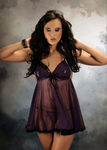 Sheer Sequin Babydoll Purple M-6XL