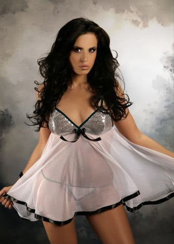 Sheer Sequin Babydoll White 10-24 , M-6XL