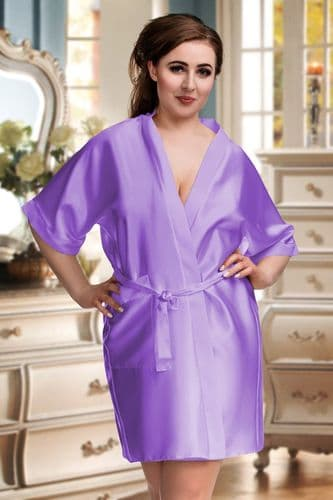 Short satin robe lilac