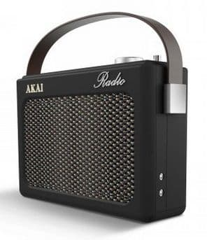 AKAI Black DAB Retro Radio with faux leather finish A60016