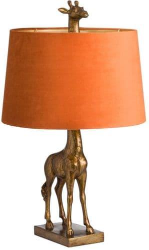 Antique Gold Giraffe Table Lamp with Burnt Orange Velvet Shade 20222