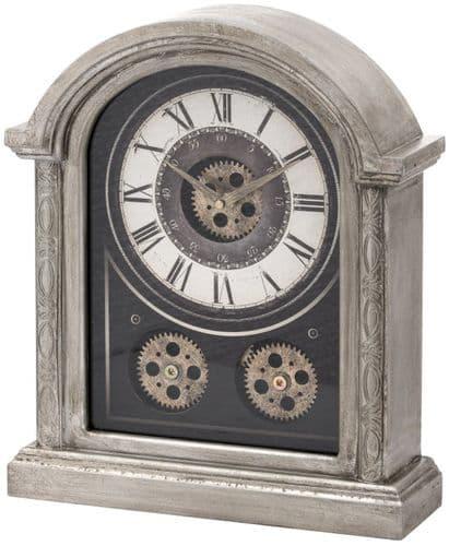 Antique Silver Mechanism Mantel Clock